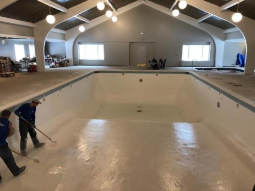 Indoor Commercial Swimming Pool During Glasscoat Renovation. Holiday Inn, Marquette