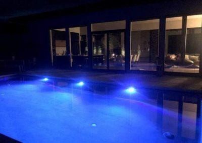 Inground Custom Concrete Rectangle Pool 16x32, with LED Lights, Sapphire Galaxy Pebble Fina. Suamico, Wisconsin