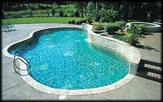 Inground Freeform Custom Concrete Pool/Spa Combo 18x20x46, Sandy Beach Pebble Tec, Raised Wall: Biblico Stone. Thornberry, Oneida, Wisconsin