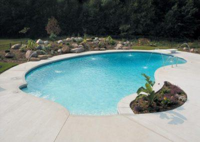 Inground Freeform Custom Concrete Pool 18x21x42, with Diving Deck and Jets, Arctic White, Pebble Sheen. De Pere, Wisconsin