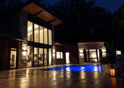 Inground Rectangle Vanishing Edge Custom Concrete Pool 18x30, with LED Lights, Midas Tile: Ocean Blue Pebble Sheen. De Pere, Wisconsin
