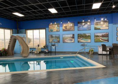 Showroom-Inground-Fiberglass-LilBob-ThursdayPools-LED-Lights-Typhoon-Slide-Basketball-Artisan-Handrail-DePere-Wisconsin